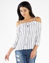 boohoo Striped Button Front Cold Shoulder Top