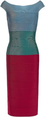 Herve Leger Off-the-shoulder Color-block Bandage Dress