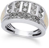 Macy's Men's Diamond Cluster Two-Tone Ring (2 ct. t.w.) in 10k Gold and White Gold