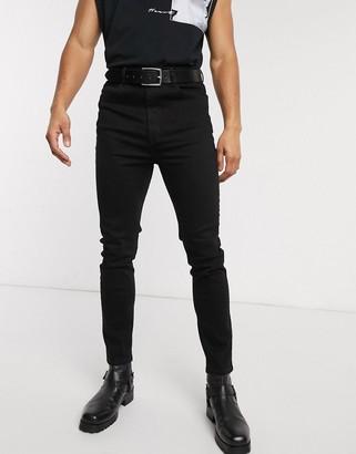 Asos DESIGN high waist skinny jean in power stretch denim in black