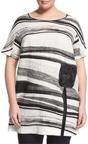 Marina Rinaldi Faggio Short-Sleeve Striped Top, Plus Size