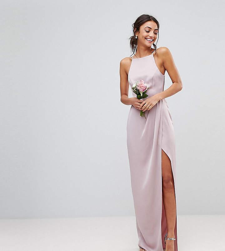 Asos Tall Design Tall Bridesmaid Drape Front Strappy Back Maxi Dress
