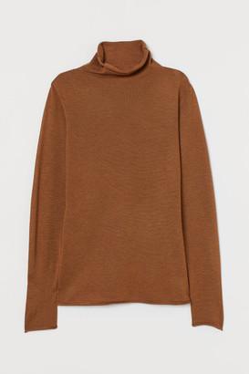 H&M Fine-knit Turtleneck Sweater - Orange