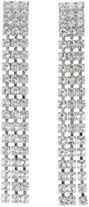 Wandering Silver Crystal Long Chain Earrings