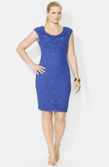 Lauren Ralph Lauren Cap Sleeve Cowl Neck Dress (Plus Size)