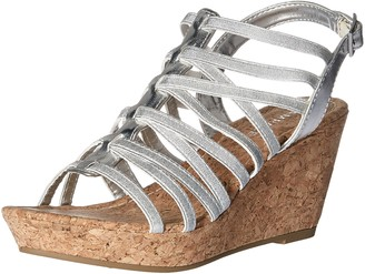 Rampage Women's Josie Stretch Elastic Platform Open Back Wedge Sandal