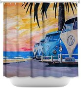 Tea Nest Designs Mildew and Wrinkle Resistant Shower Curtains by Markus Bleichner Blue Vw Bus Line Bathroom 66X72