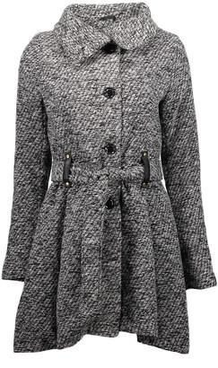 Yoki Women's Car Coats GREY - Gray Heather Belted Funnel Collar Coat - Women