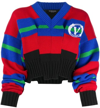 Versace Striped Intarsia-Knit Jumper