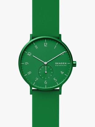 Skagen Unisex Aaren Kulor Silicone Strap Watch, Green SKW6545