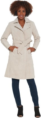 Halston H by Suede Trench Coat with Stitch Detail