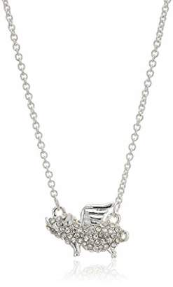 Pet Friends Women's Crystal Pave Pig With Wings Pendant Necklace