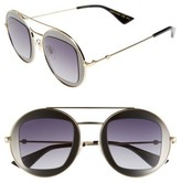 Gucci Women's 47Mm Round Sunglasses - Black-Ivory/ Grey