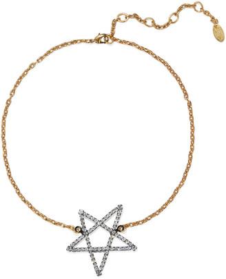 Elizabeth Cole 24-karat Gold And Hematite-plated Swarovski Crystal Necklace