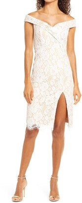 Lulus Table for Two Lace Off the Shoulder Dress