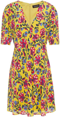 Saloni Corinne Floral-print Silk Crepe De Chine Mini Dress