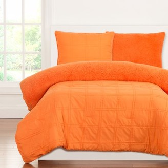 Crayola Playful Plush Outrageous Orange Full/Queen Comforter Set
