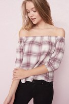 Garage Off Shoulder Plaid Top