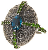 Stephen Dweck London Blue Topaz & Green Chrome Diopside Ring - Size 8