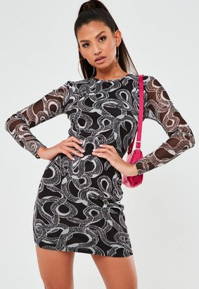 Missguided Black Snake Print Mesh Crew Neck Mini Dress