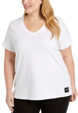 Calvin Klein Plus Size Logo Patch V-Neck T-Shirt