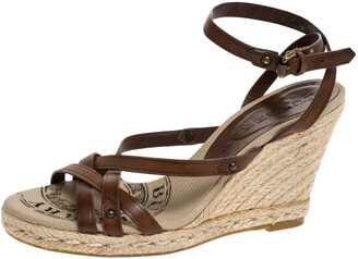 Burberry Brown Leather Wedge Strappy Sandals Size 36