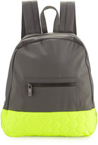 Neiman Marcus Honeycomb Colorblock Neoprene Backpack, Gray/Neon Yellow