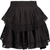 LoveShackFancy Crochet Knit-Trimmed Pleated Cotton-Gauze Mini Skirt
