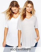 Asos T-Shirt With V Neck In Oversized Slouchy Rib 2 Pack