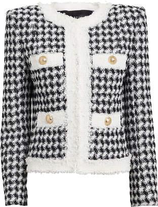 Balmain Houndstooth Tweed Collarless Jacket