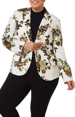 Maree Pour Toi Foil Floral Print Scuba Crepe Blazer