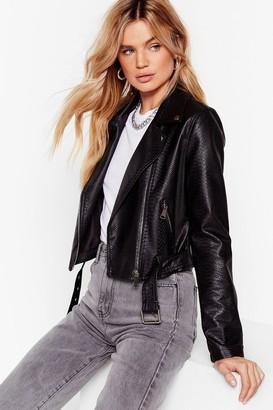 Nasty Gal Womens Snake It Work Faux Leather Moto Jacket - Black - S, Black