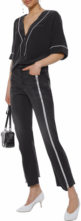 Thumbnail for your product : Current/Elliott Zip-detailed Distressed Straight-leg Jeans