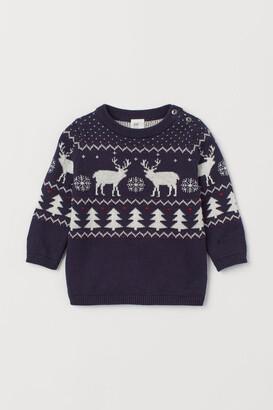 H&M Jacquard-knit Cotton Sweater - Blue
