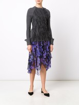Jason Wu Merino Silk Blend Sweater With Ostrich Feather