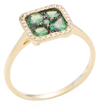 Amrapali 18K Yellow Gold, Green Garnet & 0.10 Total Ct. Diamond Square Ring