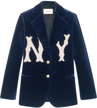Gucci Velvet jacket with NY Yankees patch