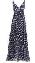 Diane von Furstenberg Misha Spot-print Tiered Silk Maxi Dress - Womens - Navy Multi
