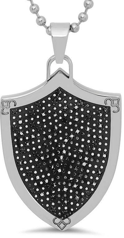 Black Diamond FINE JEWELRY Mens 1/2 CT. T.W. Color-Enhanced Stainless Steel Shield Pendant Necklace