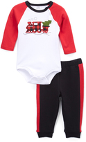 Baby Essentials White & Black Holiday Train Bodysuit & Pants - Infant