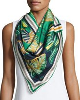 Lafayette 148 New York Vanguardia Palm-Print Silk Twill Scarf, Multi
