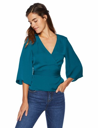 Cupcakes And Cashmere Women's Gabriele Tumbled Satin wrap Blouse
