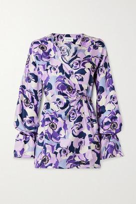 ART DEALER Floral-print Silk-satin Twill Wrap Mini Dress - Purple