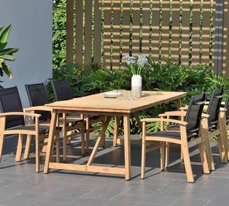 Pottery Barn Anza 7-Piece Rectangular Dining Table with De Garmo Armchair Set