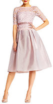 Adrianna Papell Illusion Lace & Taffeta Ball Skirt Gown