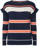 Dorothy Perkins Multi Coloured Stripe Print Ruffle Shoulder Jumper