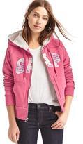Plaid logo sherpa zip hoodie