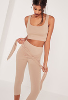 Missguided Sleeveless Crop Top Tan