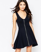 Liquorish Skater Dress With Zip Front
