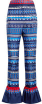 Mary Katrantzou Peyote Ruffled Printed Silk-twill Flared Pants - Blue